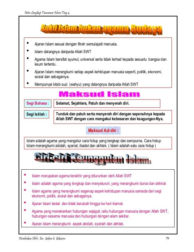 Nota Pendidikan Islam Tingkatan 4 Yang Sangat Menarik Nota Lengkap Tasawwur Islam Ting 4 Skoloh
