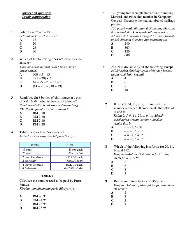 Soalan Latihan Bahasa Melayu Tahun 3 Baik Soalan Matematik Tingkatan 1 Skoloh