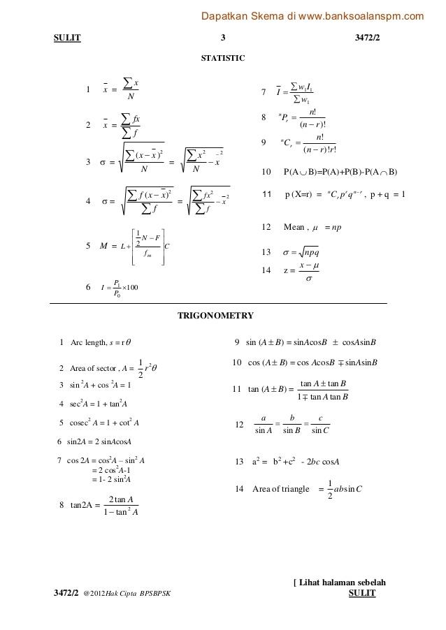 Soalan Peperiksaan Pertengahan Tahun Matematik Tambahan Tingkatan 4 Terbaik Matematik Tambahan Kertas 2 Skoloh