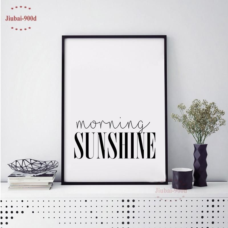 heap painting calligraphy morning sunshine quote canvas art print poster simple style wall pictures for home decoration wall deco