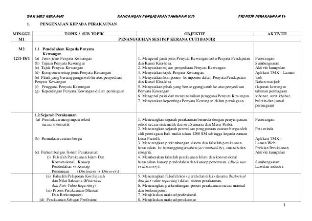 smk seri keramat rancangan pengajaran tahunan 2015 prinsip perakaunan t4 1 1 pengenalan kepada perakaunan