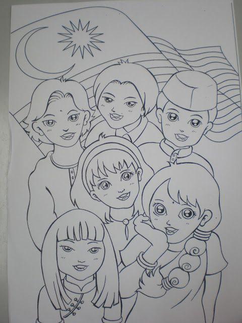 Gambar Lukisan Untuk Pertandingan Mewarna Kanak-kanak Menarik Wansteddy Tales Lukisan Lamaku Elemen 1malaysia