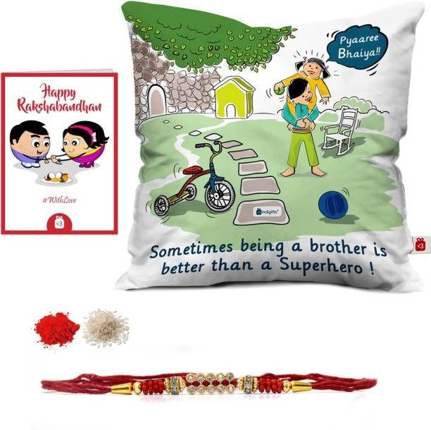 indiagifts designer cushion rakhi greeting card chawal roli pack set