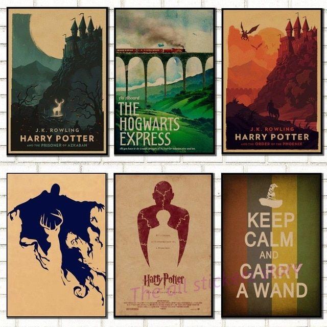 vintage poster harry potter hogwarts express diagon alley hogsmeade kraft paper wall sticker