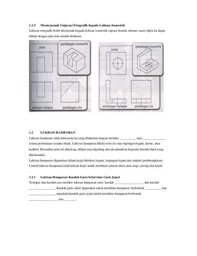 contoh kertas kerja lukisan kejuruteraan baik lukisan isometrik