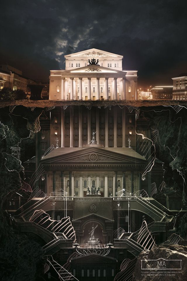 below the surface agency saatchi saatchi russia has made illustrations campaign for the schusev state museum of architecture in moscow entitled as below