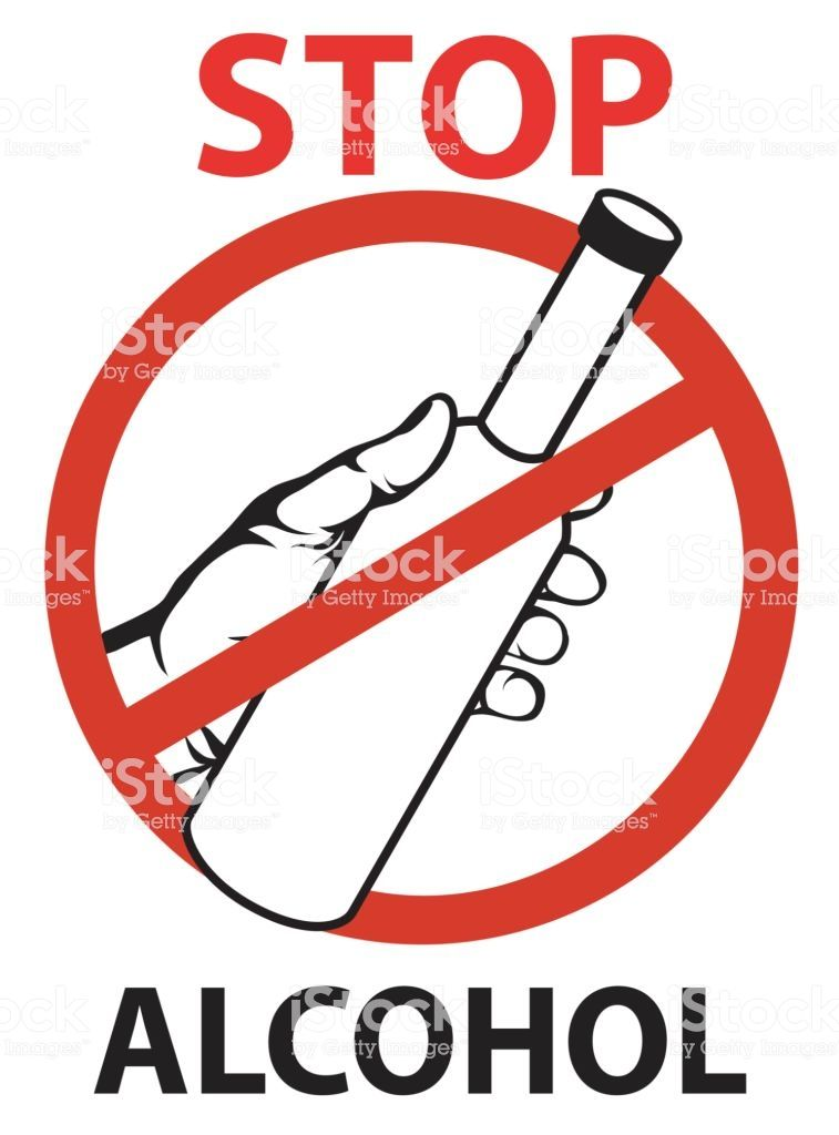 stop the alcohol a man s hand gestures for a drink holding the bottle in his hand vector forbidden red sign poster on white background illustration