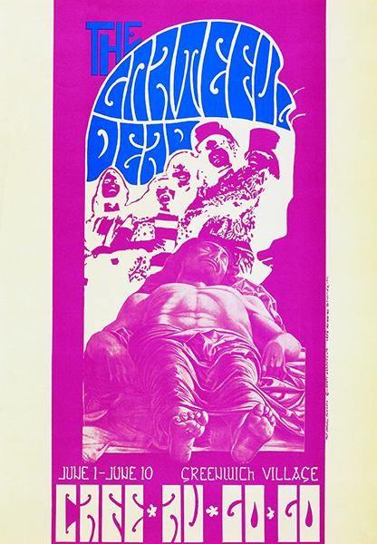 Cafe Poster Hebat the Grateful Dead Cafe Au Go Go 1967 Concert Poster Concert