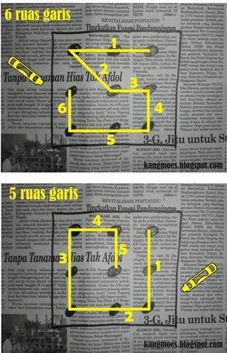 namun untuk 4 3 dan 1 garis harus anda pikirkan sendiri untuk mengasah kemampuan berpikir otak kanan anda