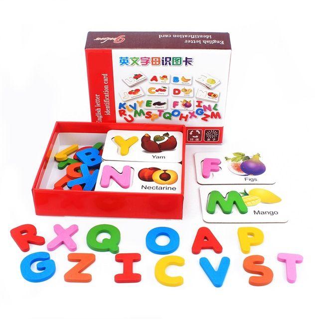 bayi mainan kayu puzzle 26 abc english huruf ejaan kata kata mantra sayuran buah