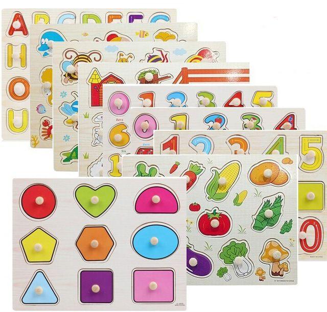 anak kognitif piring pegang 3d puzzle surat nomor bentuk warna transportasi kartun serangga sayur hewan