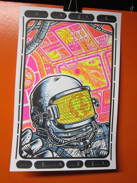 drugs space and carl sagan screen print 20 00 via etsy