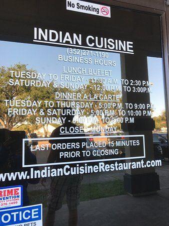 indian cuisine closed monday