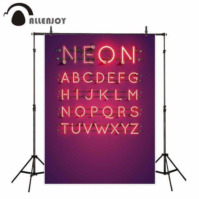 allenjoy asli kamera kertas foto latar belakang ungu bahasa inggris sparkling pesta lampu neon kain vinyl