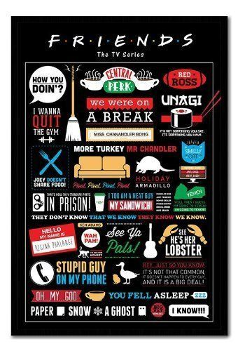 amazon com friends tv show infographic poster black framed satin matt laminated 96 5 x 66 cms approx 38 x 26 inches posters prints