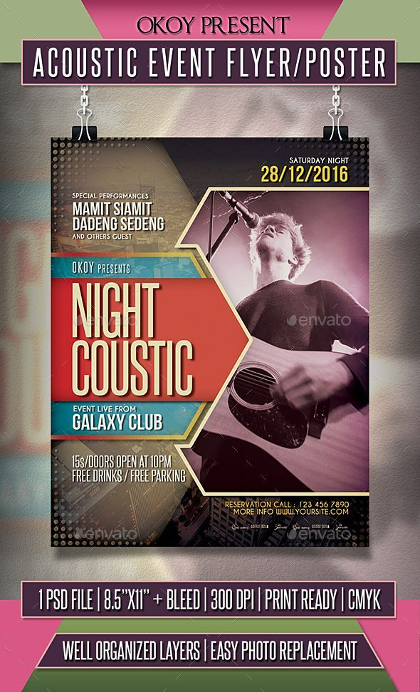 acoustic event flyer poster template psd
