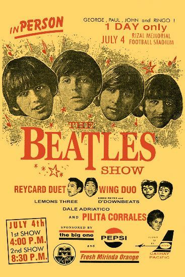 beatles the beatles philippines concert poster 1966 in british invasion music posters