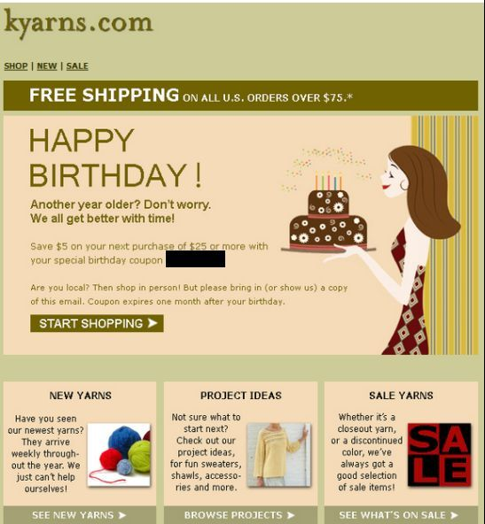 kyarns com birthday email