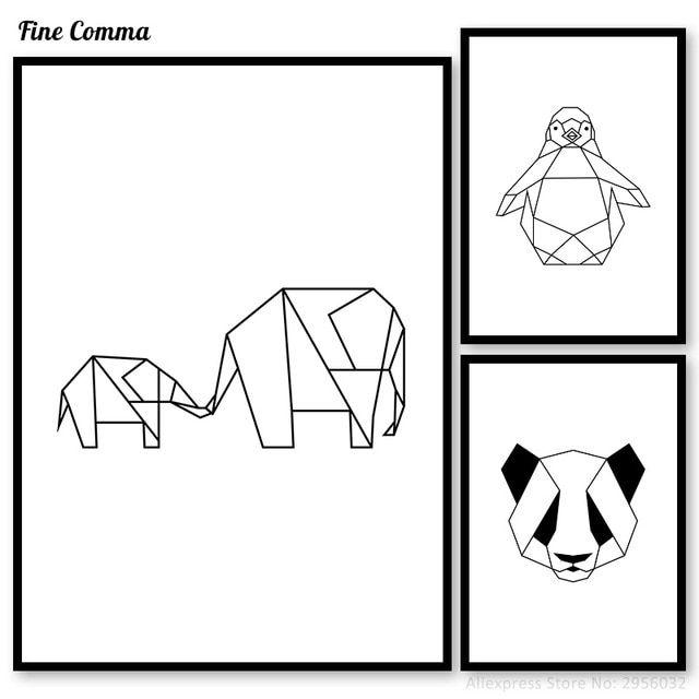 geometric hewan panda penguin gajah dinding gambar poster wall art poster dan cetakan nordic hitam dan