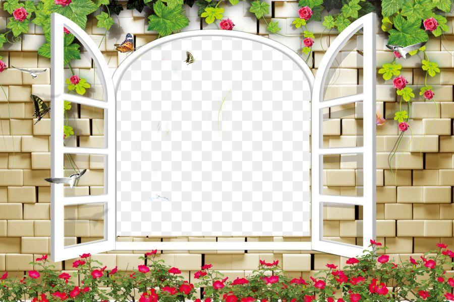jendela kertas lukisan dinding wallpaper batu bata jendela bunga anggur