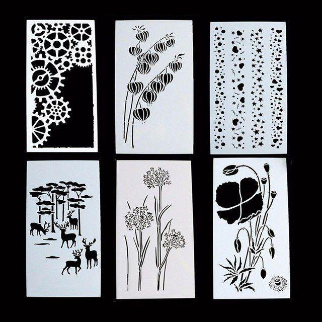 1 pc indah tanaman bunga reusable stensil airbrush lukisan art album kerajinan diy dekorasi rumah scrapbooking