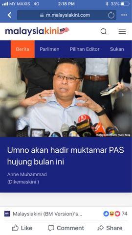 hari ini umno pula walaupun belum mendapat undangan rasmi daripada pas secara terbuka mengatakan akan hadir muktamar parti itu yang akan diadakan di