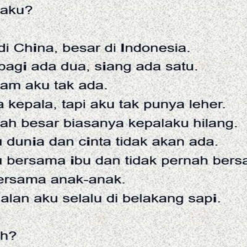 jawaban teka teki asah otak aku kecil di china besar di indonesia