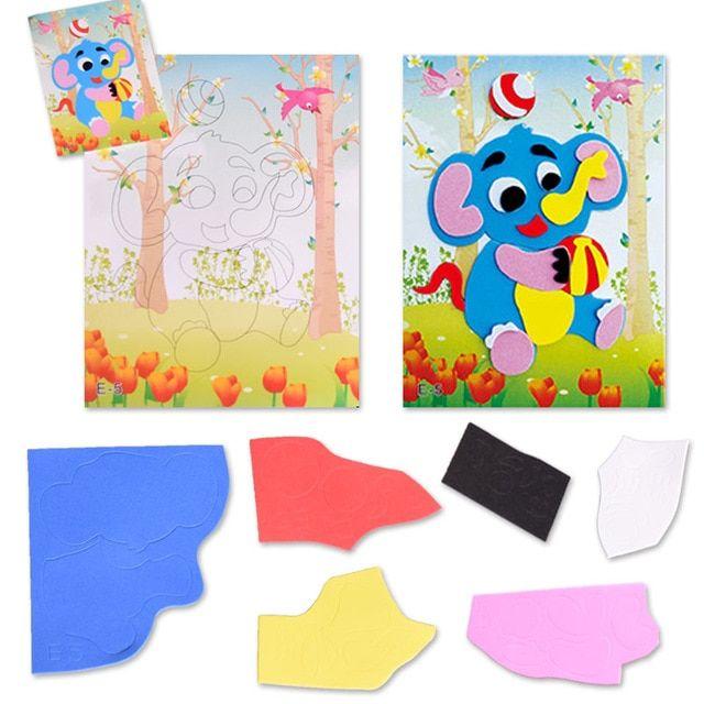 1 pc gajah pola 3d puzzle stiker diy eva stiker manual kertas gambar mainan untuk anak