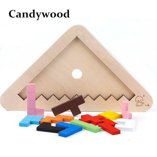 candywood anak segitiga puzzle kayu mainan tetris tangram otak teaser puzzle permainan papan jigsaw mainan pendidikan