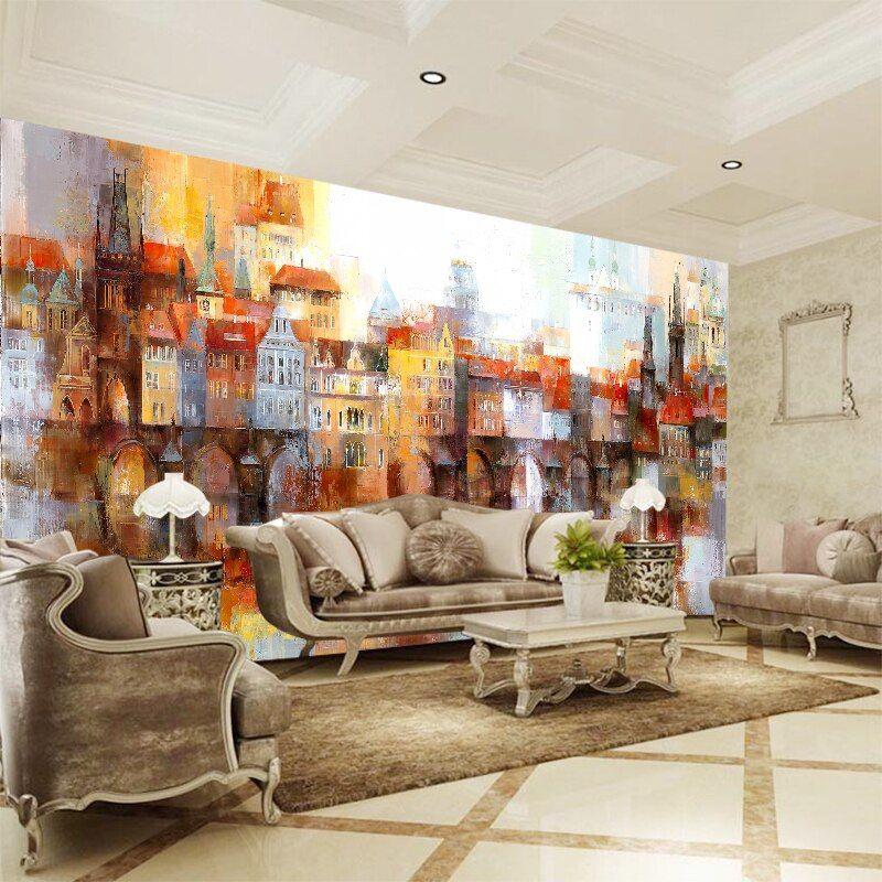 kustom 3d dinding mural foto wallpaper minyak lukisan warna bangunan kertas untuk ruang tamu tv sofa latar belakang di wallpaper dari perbaikan rumah