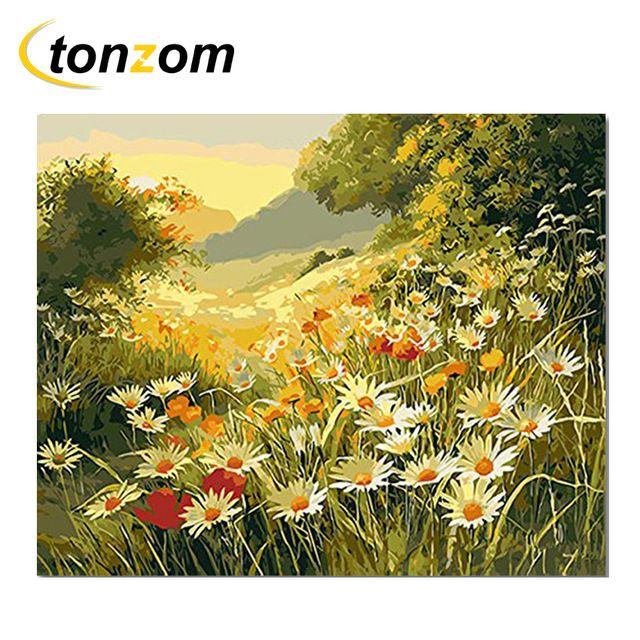 rihe sunset bunga matahari padang rumput gambar dengan angka hutan diy lukisan buatan tangan di atas
