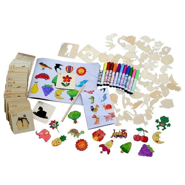 anak anak 120 pcs diy kartun chip kayu lukisan template gambar stensil dengan cat air