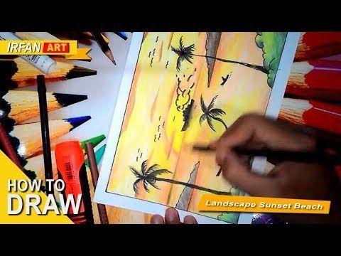 gambar mewarna pemandangan kampung terhebat cara menggambar pemandangan sunset a pensil warna youtube
