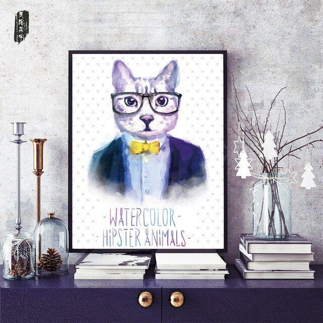 hewan wall art kanvas cetakan rumah kucing beruang dan kelinci set dinding untuk ruang tamu