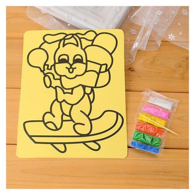 10 pcs set 6 warna pasir seni lukisan kartu anak anak dengan latar belakang