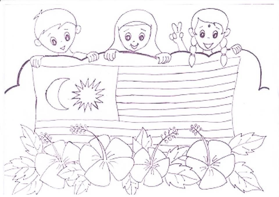 gambar mewarna hari kemerdekaan bermanfaat jom download himpunan contoh gambar raya untuk mewarna yang berguna
