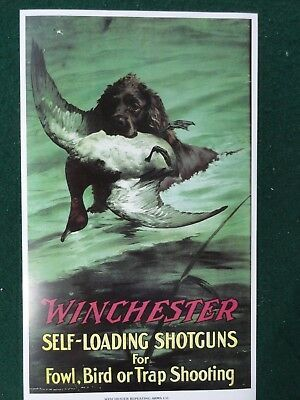 winchester firearms shotguns duck hunting advertising poster
