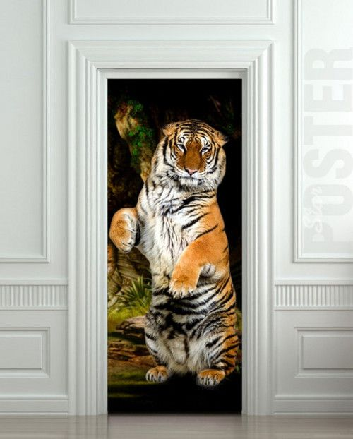 door sticker tiger wild animal mural decole film poster 31x79 80x200cm 2