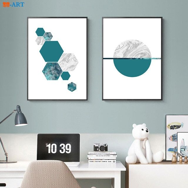 geometric prints teal and grey poster pastel wall art modern scandinavian canvas painting living room home decor