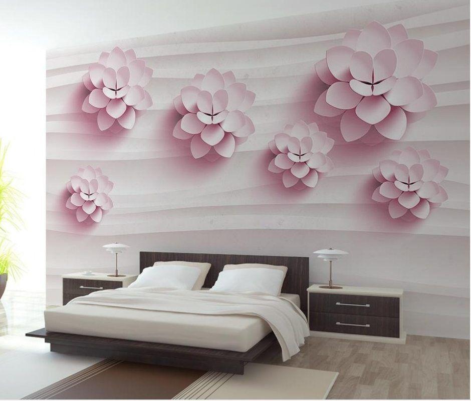 kustom 3d mural dinding kertas bunga tiga dimensi besar mural wallpaper kamar tidur ruang tamu sofa