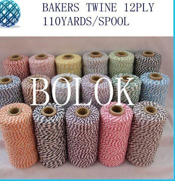 16 pcs lot 32 jenis warna pilih cotton baker benang 110 yards spool 3 helai tali memutar untuk hadiah packing