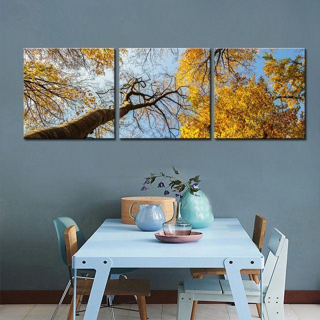 pemandangan indah lukisan terbaik 3 panel emas pohon hutan lukisan cetak di atas kanvas poster lukisan