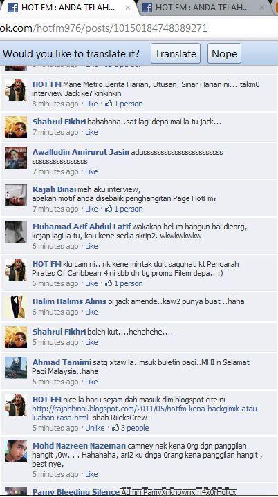 salam kawan kawan wah hot topik hari ni apabila facebook hot fm kena hack wow dasyat