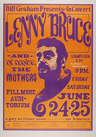 lenny bruce 1966 concert poster fillmore auditoriummint condition bg 13 at amazon s entertainment collectibles store