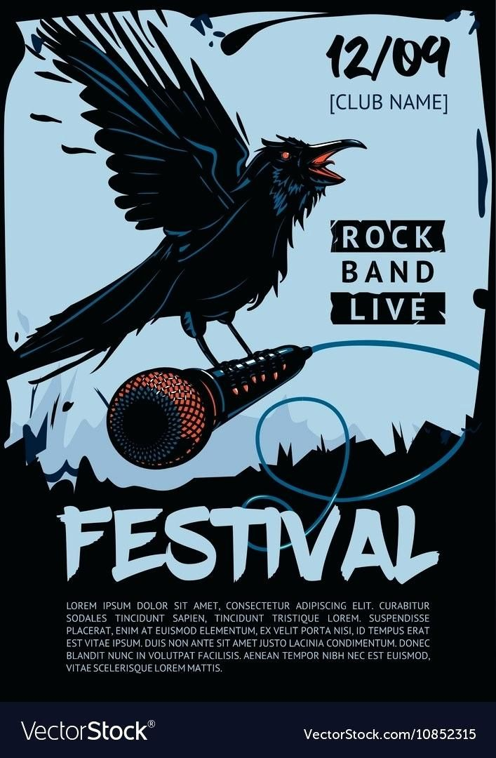 band poster template free event templates music for rock concert raven is vector