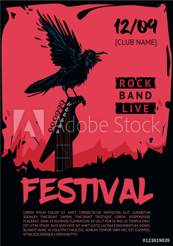 fotografie obraz music poster template for rock concert raven with guitar posters cz