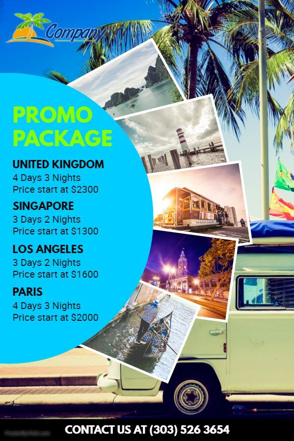 bus trip promo package advertisement travel pamphlet social media template