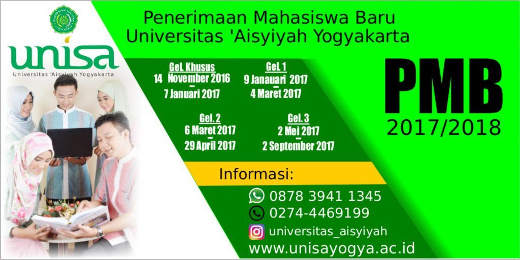 penerimaan mahasiswa baru universitas aisyiyah yogyakarta unisa 2017 2018 universitas aisyiyah yogyakarta
