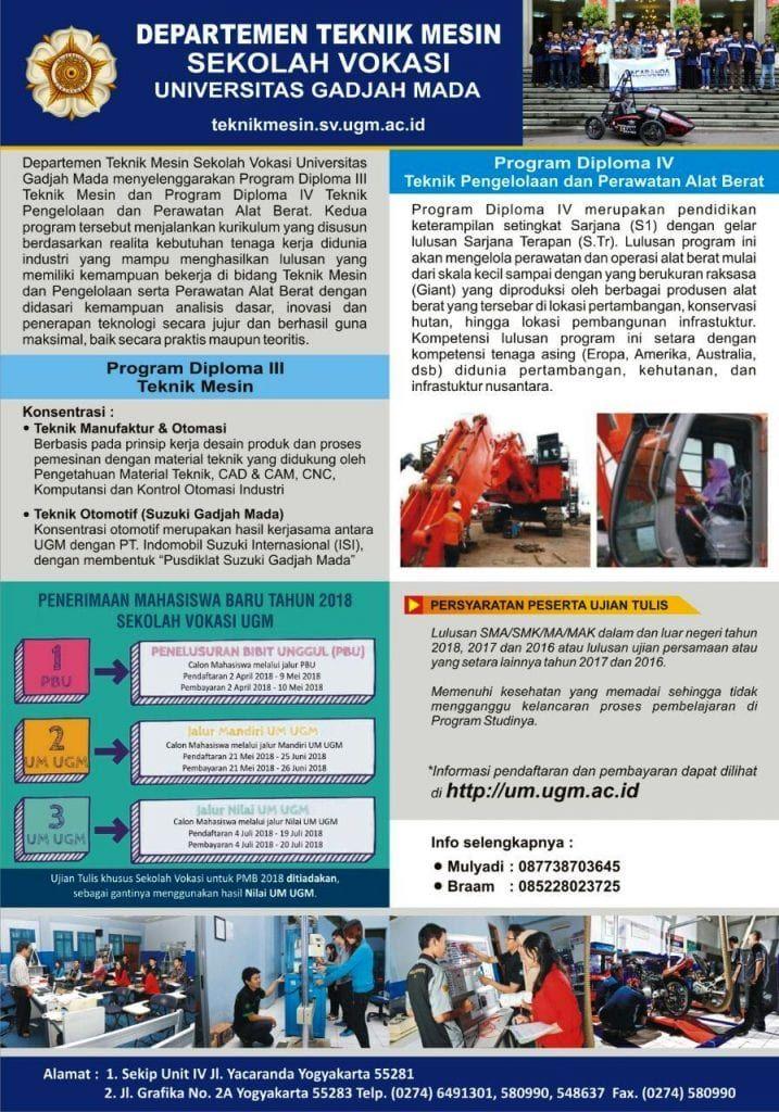 penerimaan mahasiswa baru departemen teknik mesin sv ugm