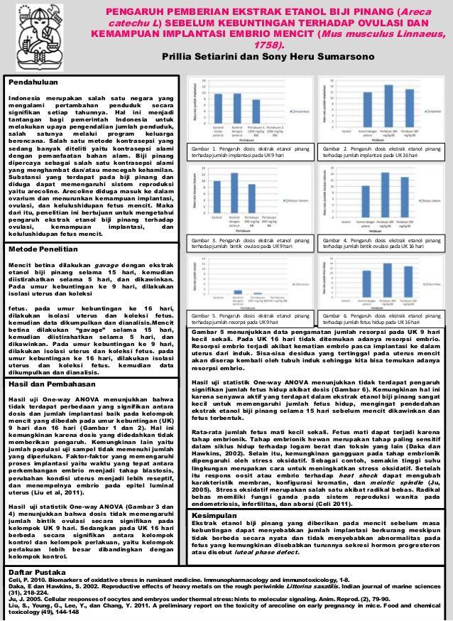 poster tugas akhir pengaruh pemberian ekstrak etanol biji pinang areca catechu l sebelum kebuntingan terhadap ovulasi dan